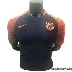 Новотехнологичная футболка barcelona черная оранжевая  месси