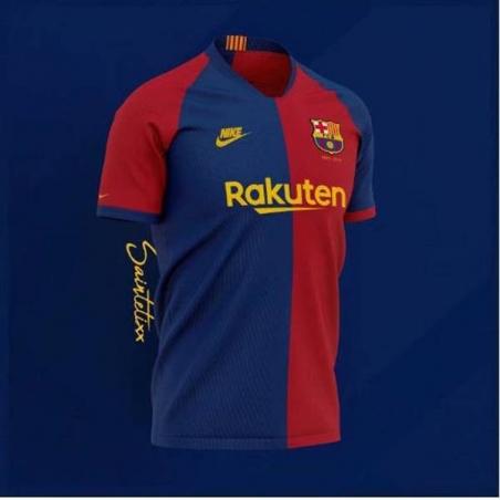 Футболка barcelona 2018 синяя красная  месси