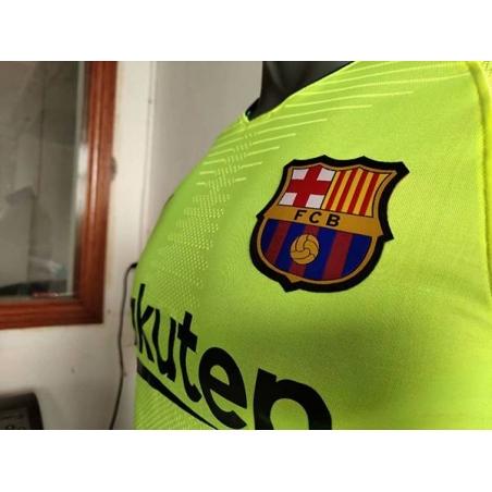Новотехнологичная футболка barcelona салатовый 2018  месси