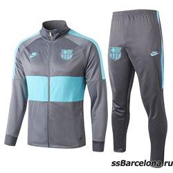 (Серая/Берюзовая) спортивные футбольные костюм барселона 2019 2020